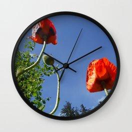 Poppy Friends Stretch to Sky in Haines, Alaska by Mandy Ramsey Wall Clock