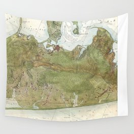 Vintage Map of The Hamptons (1857) Wall Tapestry