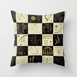 Kandinsky - Black and Gold Pattern - Abstract Art Throw Pillow