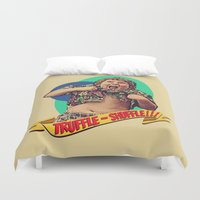 the goonies Duvet Covers featuring Truffle Shuffle! by Silvio Ledbetter