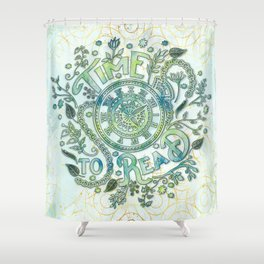 Time To Read - Watercolor Green Shower Curtain