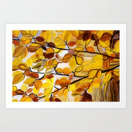 Painted autumn in yellow and gold Art Print