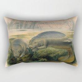 Vintage Scientific illustration, c. 1880 (Manatees) Rectangular Pillow