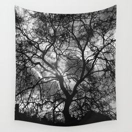 Dramatic London Tree Silhouette Wall Tapestry