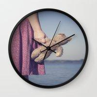 teddy bear Wall Clocks featuring Teddy by Maria Heyens