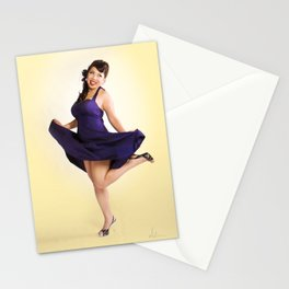 """Flirt Skirt"" - The Playful Pinup - Cheesecake Pinup Smile in Purple Dress by Maxwell H. Johnson Stationery Cards"
