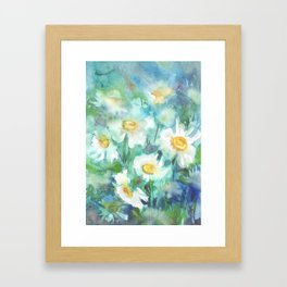 watercolor drawing - white daisies on a blue and green background, beautiful bouquet, painting Framed Art Print