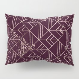 Art Deco Wine Red Gold Geometric Retro Pattern Pillow Sham