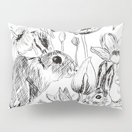 rabbits and flowers parties Pillow Sham