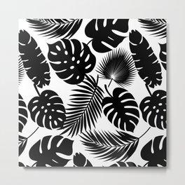 Tropical Leaves - Black on White Metal Print