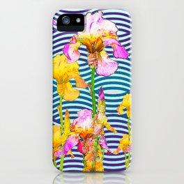 Colorful Iris Water Garden Art Pattern iPhone Case