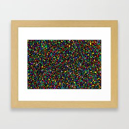 Various colored geometric shapes on a black background Framed Art Print