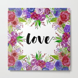 Love with Floral Watercolor Metal Print
