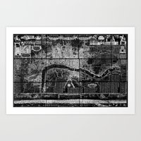 london map Art Prints featuring London Map by Le petit Archiviste