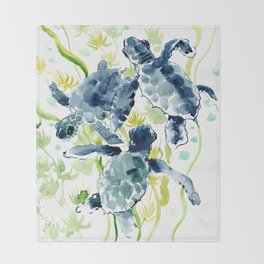 Sea Turtles , Indigo Blue Olive green Turtle art Throw Blanket