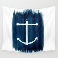 anchor Wall Tapestries featuring Anchor by Bridget Davidson