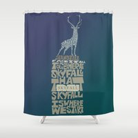 james bond Shower Curtains featuring Skyfall - James Bond 007 by Rebecca McGoran