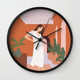Female illustration I Wall Clock
