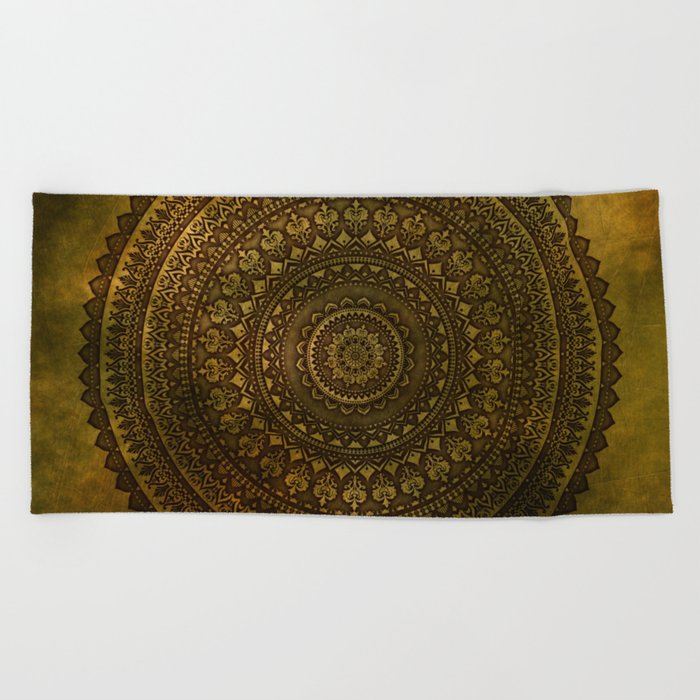 Lime Brown Mandala Beach Towel