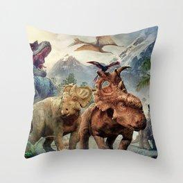 Jurassic dinosaurs playing Throw Pillow