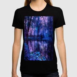 Enchanted Forest Lake Purple Blue T-shirt