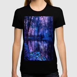 Enchanted Forest Lake Purple Blue T-shirt