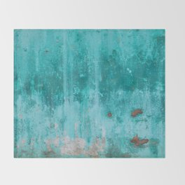 Weathered turquoise concrete wall texture Throw Blanket