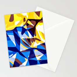 blue and yellow painting abstract background in panorama Stationery Cards