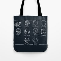 solar system Tote Bags featuring solar system by sarah sawtelle