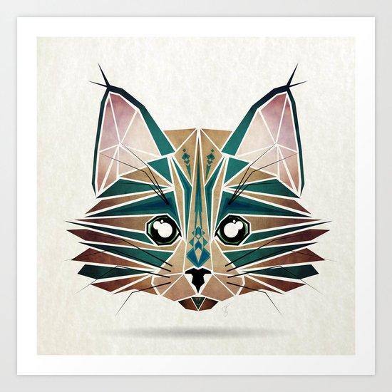 blue cat  Art Print