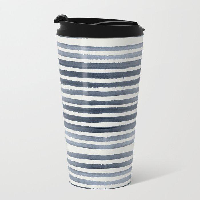 Simply Shibori Stripes Indigo Blue on Lunar Gray Metal Travel Mug