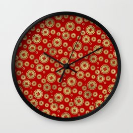 Chinese Coin Pattern Gold on Red Wall Clock