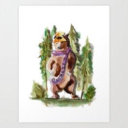 Bufanda Bear Art Print