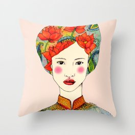 lotus girl Throw Pillow