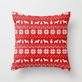 Bull Terrier Silhouettes Christmas Holiday Pattern Throw Pillow