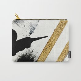 Armor [8]: a minimal abstract piece in black white and gold by Alyssa Hamilton Art Carry-All Pouch