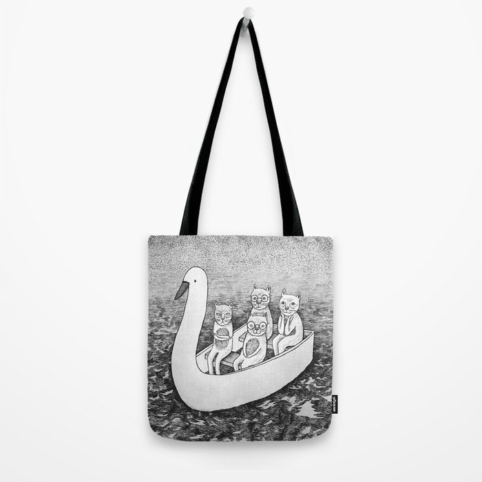 4 cats on a boat Tote Bag