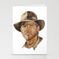 indiana jones Stationery Cards featuring Indiana Jones by Ashley Anderson