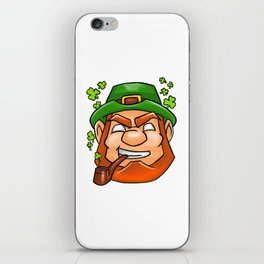 Leprechaun Face Smoking Pipe Shamrock Flying iPhone Skin