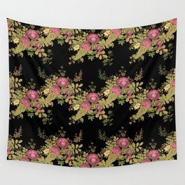 Colorful floral pattern on a black background . Wall Tapestry