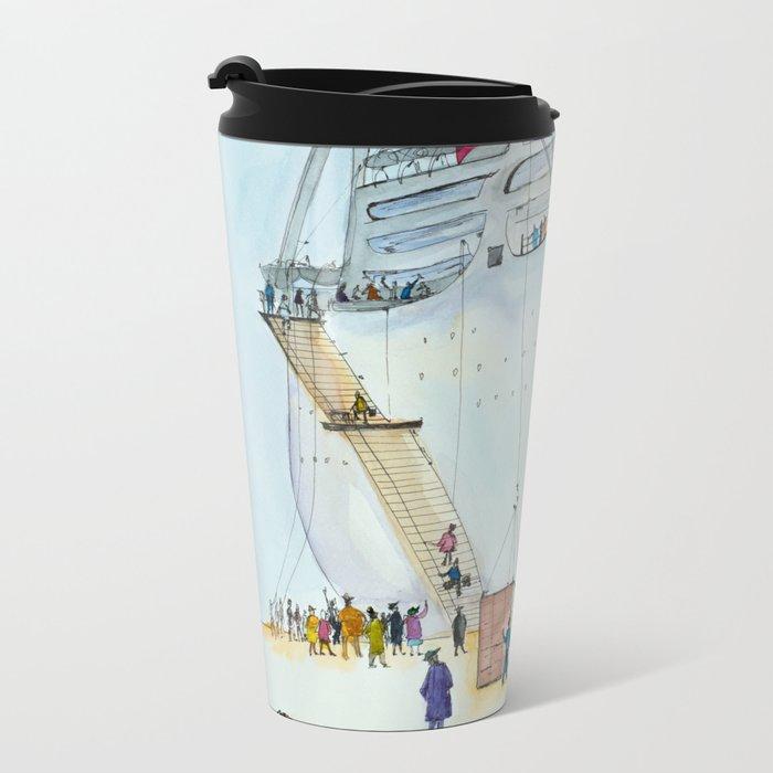 In the seaport Metal Travel Mug