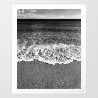 Minimalist Black and White Beach Art Print