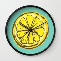 lemon Wall Clocks featuring lemon by Marzipan