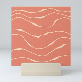 white waves on pink pattern Mini Art Print