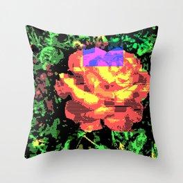 Digital Rose Against Vibrant Green Leaves Throw Pillow