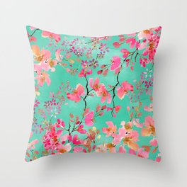 Elegant hand paint watercolor spring floral Throw Pillow