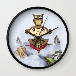 Wise Monkey Flies - Wiser Owl Sits Wall Clock