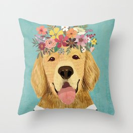 Golden Retriever Dog with Floral Crown Art Print – Funny Decoration Gift – Cute Room Decor – Poster Throw Pillow
