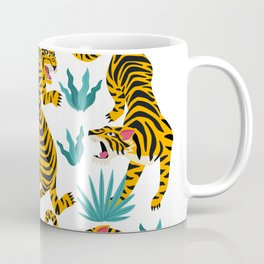 Tigers dance in tropical forest illustration Coffee Mug