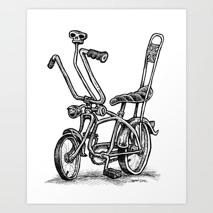 Skull Shifter Muscle Bike Cartoon Retro Mod Stingray